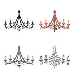 chandelier icon in cartoon style isolated on white vector image