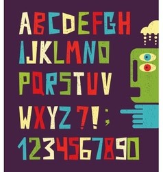 Funny alphabet letters with numbers vector