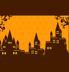 Halloween with dark castle collection vector