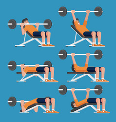 Set of man in weight training chest workout poses vector