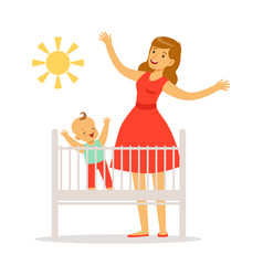 little baby is in the crib woke up in the morning vector image