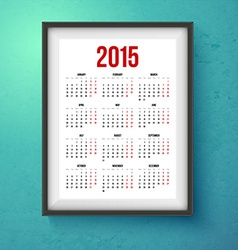 2015 year calender Realistic photo frame on the vector image
