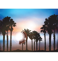 Summer palm tree landscape vector