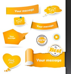 Set of orange labels and paper badges vector image
