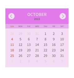 Calendar monthly october 2015 in flat design vector