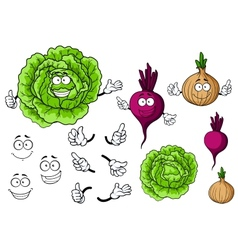 Cute cartoon cabbage beet onion vegetable vector