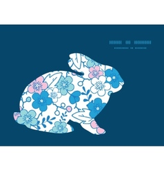 Blue and pink kimono blossoms bunny rabbit vector