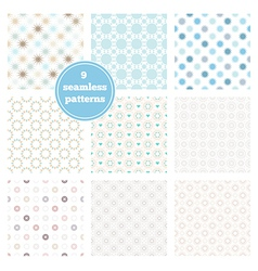 Set of nine seamless geometric patterns vector