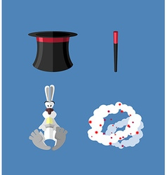 Set magician wand topper and rabbit icon vector