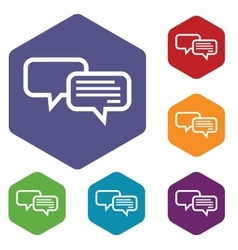 Chat hexagon icon set vector