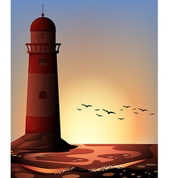 Silhouette lighthouse vector