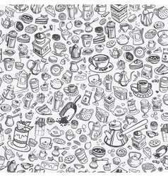 Hand drawn coffee pattern vector
