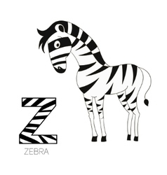 Alphabet letter z zebra children vector
