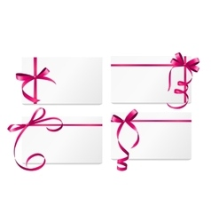 Gift card with pink ribbon and bow set vector