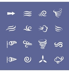 Wind icons nature cool weather climate vector