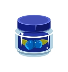 Blueberry jam in transparent jar vector
