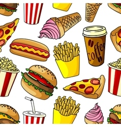 Fast food snacks seamless pattern vector
