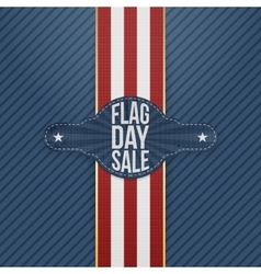 Flag day sale realistic tag with ribbon and shadow vector