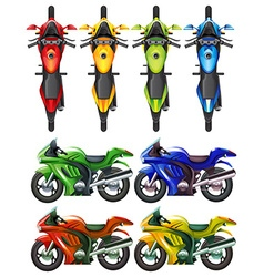 Set of motorcycle in many colors vector