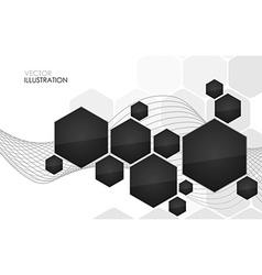 Abstract black hexagon vector image vector image