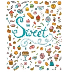 Amazing hand drawn sweets collection vector image vector image