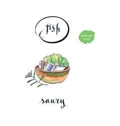Bowl of saury salad and twig of rosemary vector