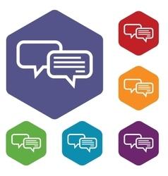 Chat hexagon icon set vector