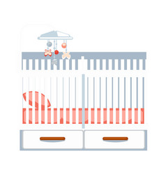 crib with drawers and hanging rattle isolated on vector image