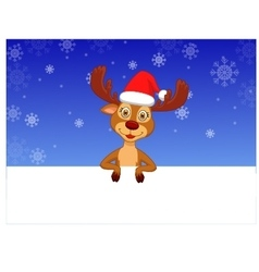 Cute deer with blank sign vector image