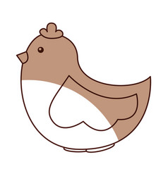 cute hen drawing icon vector image