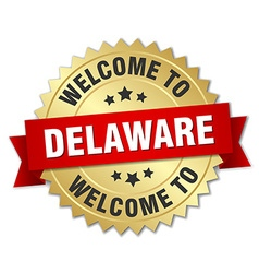 Delaware 3d gold badge with red ribbon vector