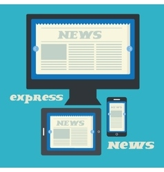 Digital newspaper on the displays of computer pad vector image