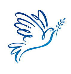 dove of peace icon flying bird peace concept vector image