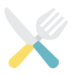 Fork and knife flat icon dinner and restaurant vector