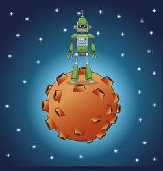Green robot technology moon galaxy vector