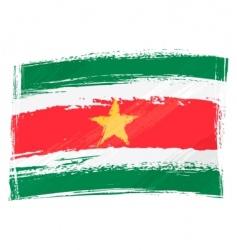 grunge Suriname flag vector image vector image