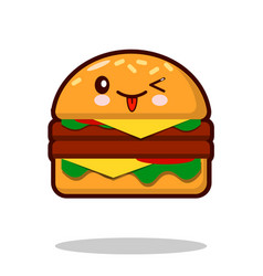 hamburger cartoon character icon kawaii fast food vector image