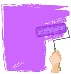 Hand with roller-brush paints the wall vector image