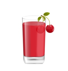 Juice in Glass with Two Cherries Isolated on White vector image