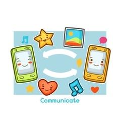Kawaii gadgets communication funny card doodles vector