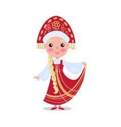 little girl wearing red sarafan and kokoshnik kid vector image vector image
