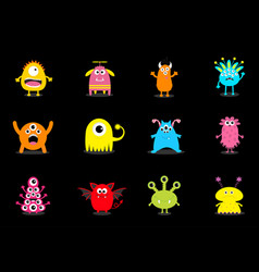 monster big set cute cartoon scary character vector image vector image