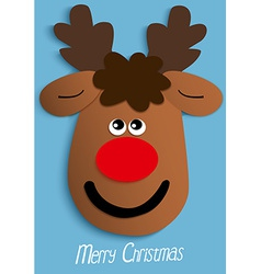 Paper christmas reindeer head vector