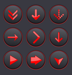 Red arrows on black buttons 3d icons set vector