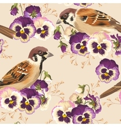 Seamless pansy and bird vector