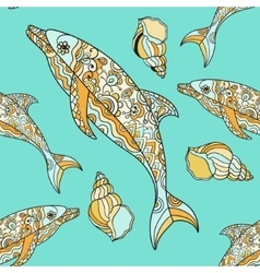 seamless pattern with hand drawn dolphin vector image vector image