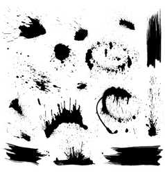 Set of black blots and ink splashes abstract eleme vector