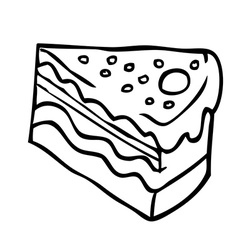 Simple black and white piece of cake vector