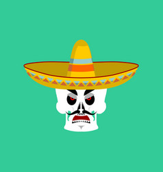 Skull in sombrero angry emoji mexican skeleton vector