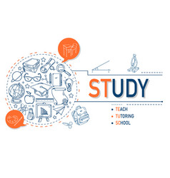 study icons collection design vector image vector image